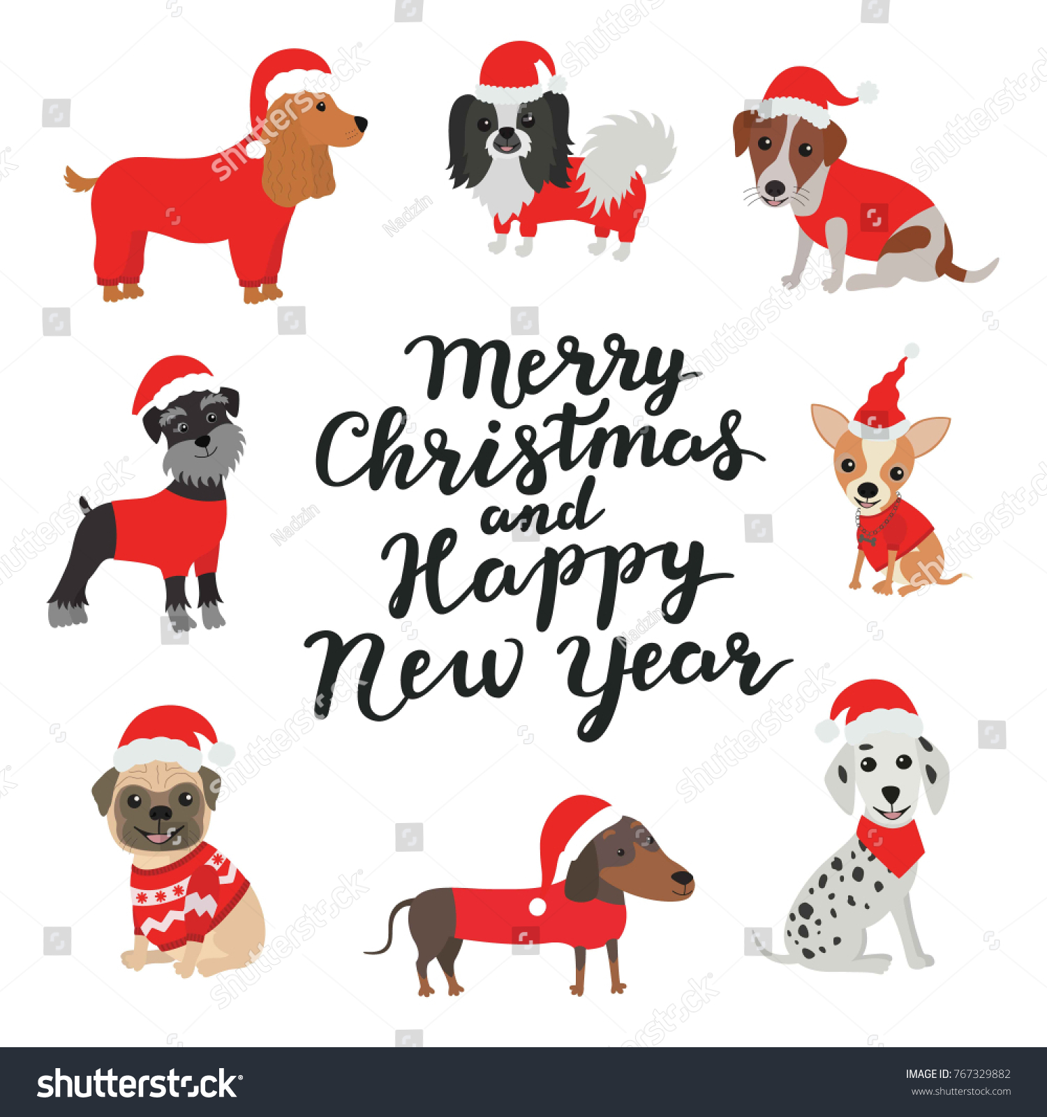 merry christmas and happy new year dogs in costumes santa claus