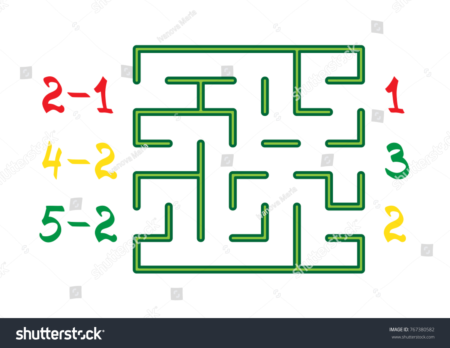 Labyrinth Color Numbers Children On White Stock Vector 767380582 ...