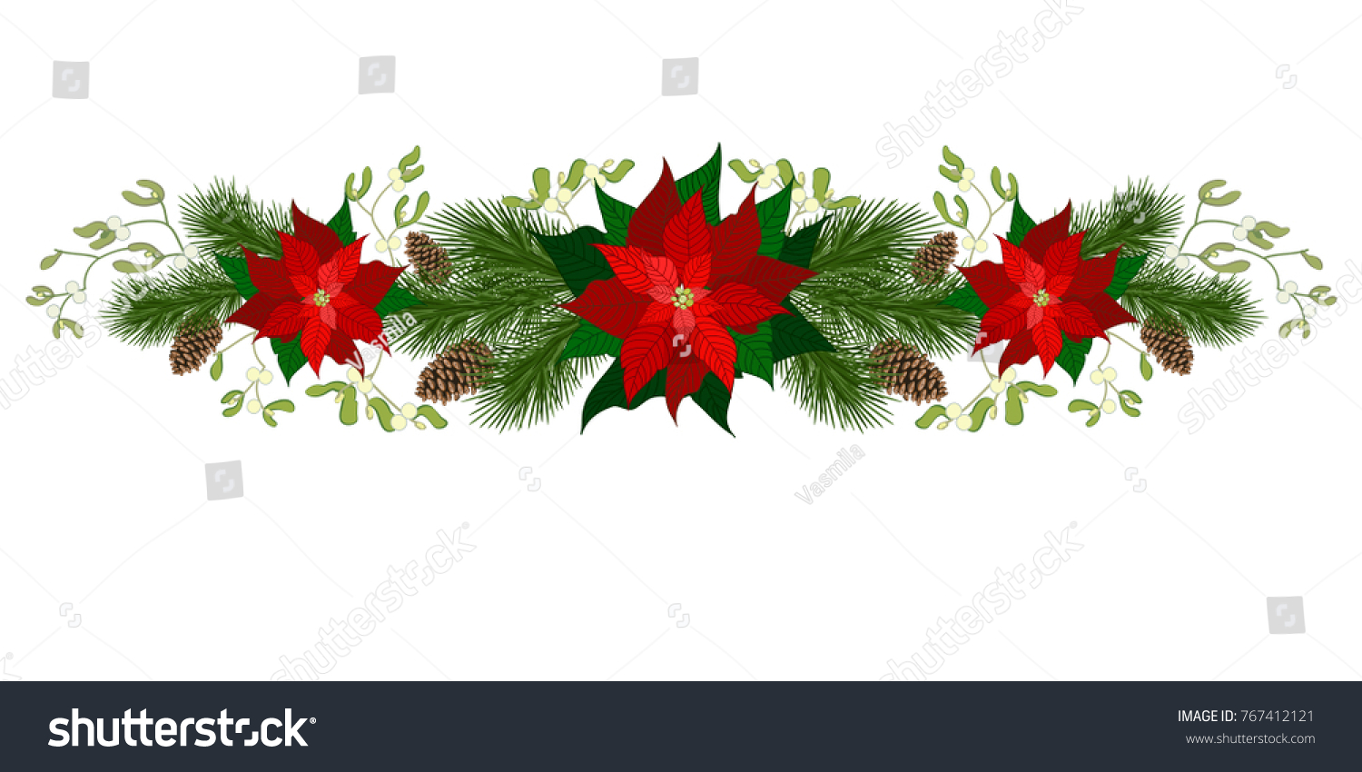 christmas decorations with poinsettia fir tree pine cones mistletoe and decorative elements - Poinsettia Christmas Decorations