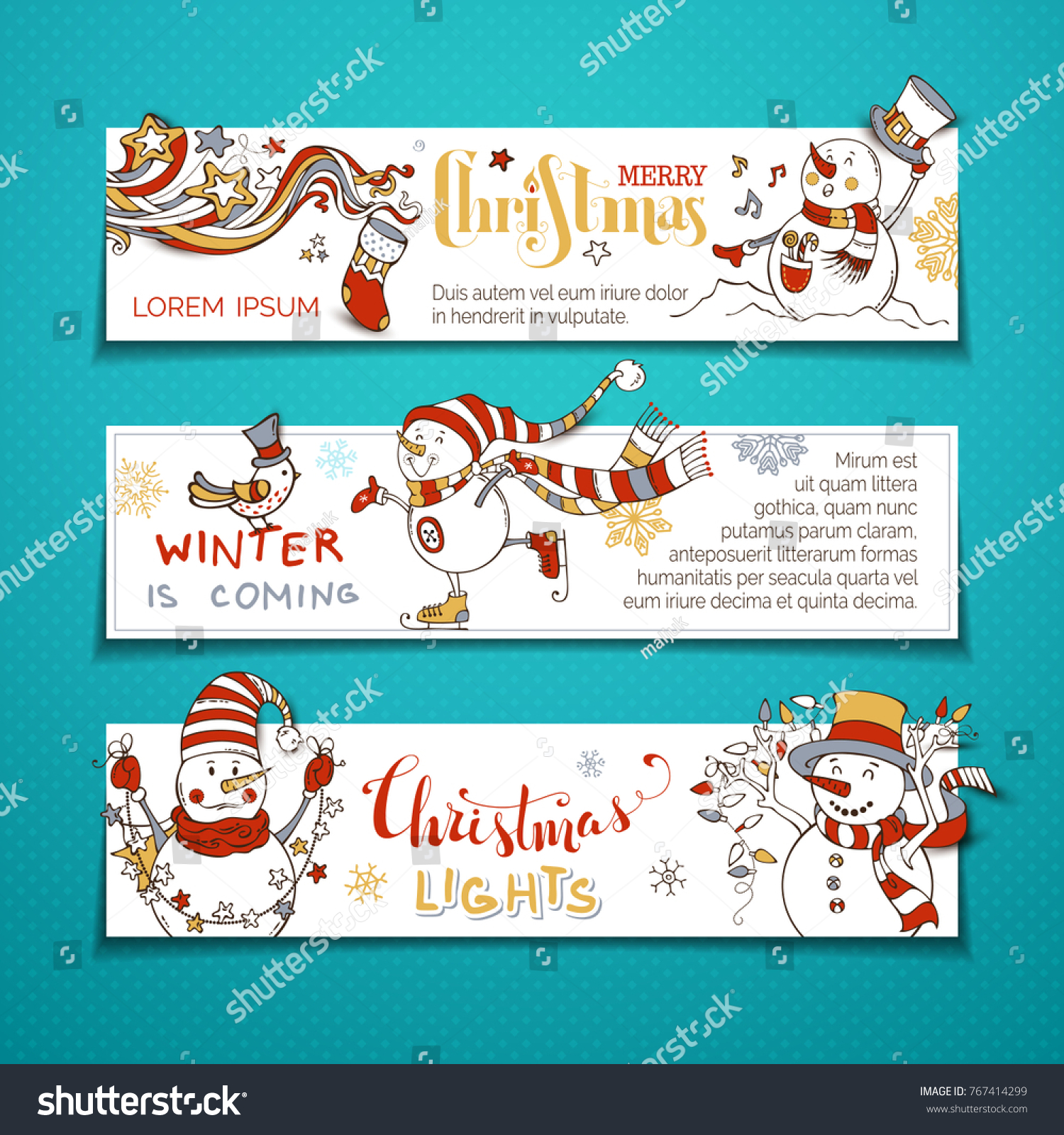 Vector Set Horizontal Christmas Banners Cute Stock Vector Royalty