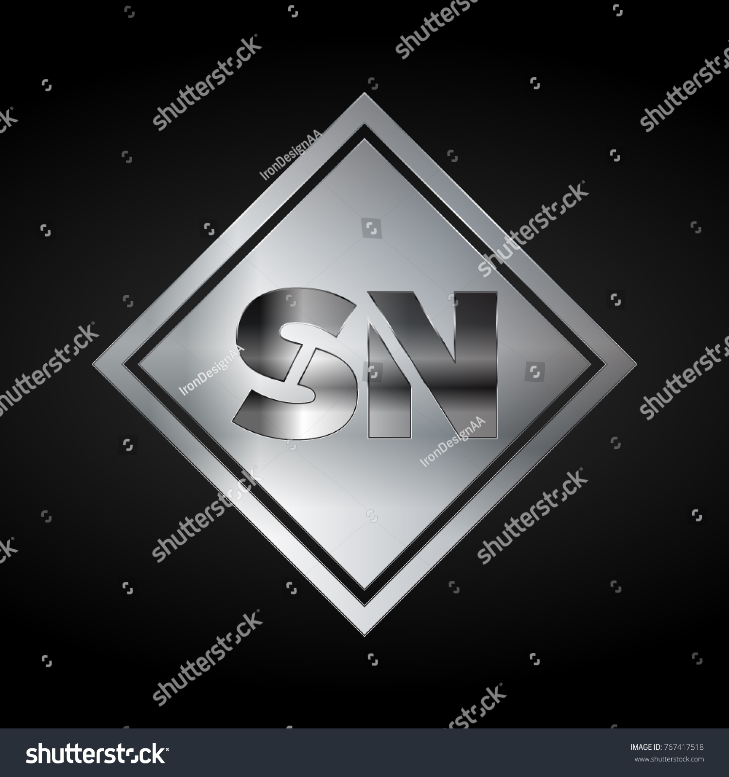Sn monogram silver logo metal logo stock vector 767417518 sn monogram silver logo metal logo luxury elegant abstract square biocorpaavc Image collections