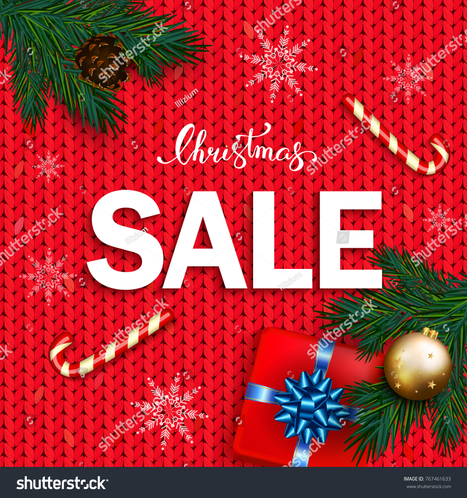 Christmas Sale Banner Box Gifts Bow Stock Vector (Royalty Free ...