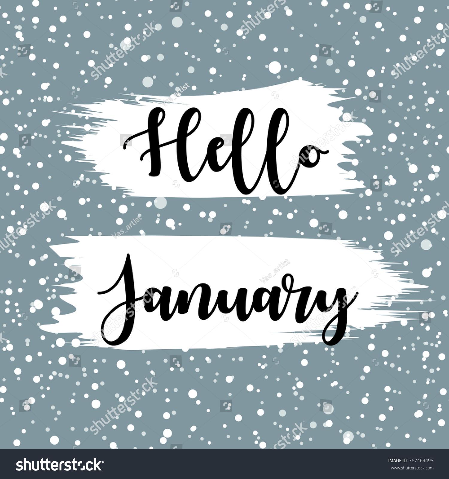 Hello January Winter Vector Illustration Hand Stock Vector 767464498 - Shutterstock
