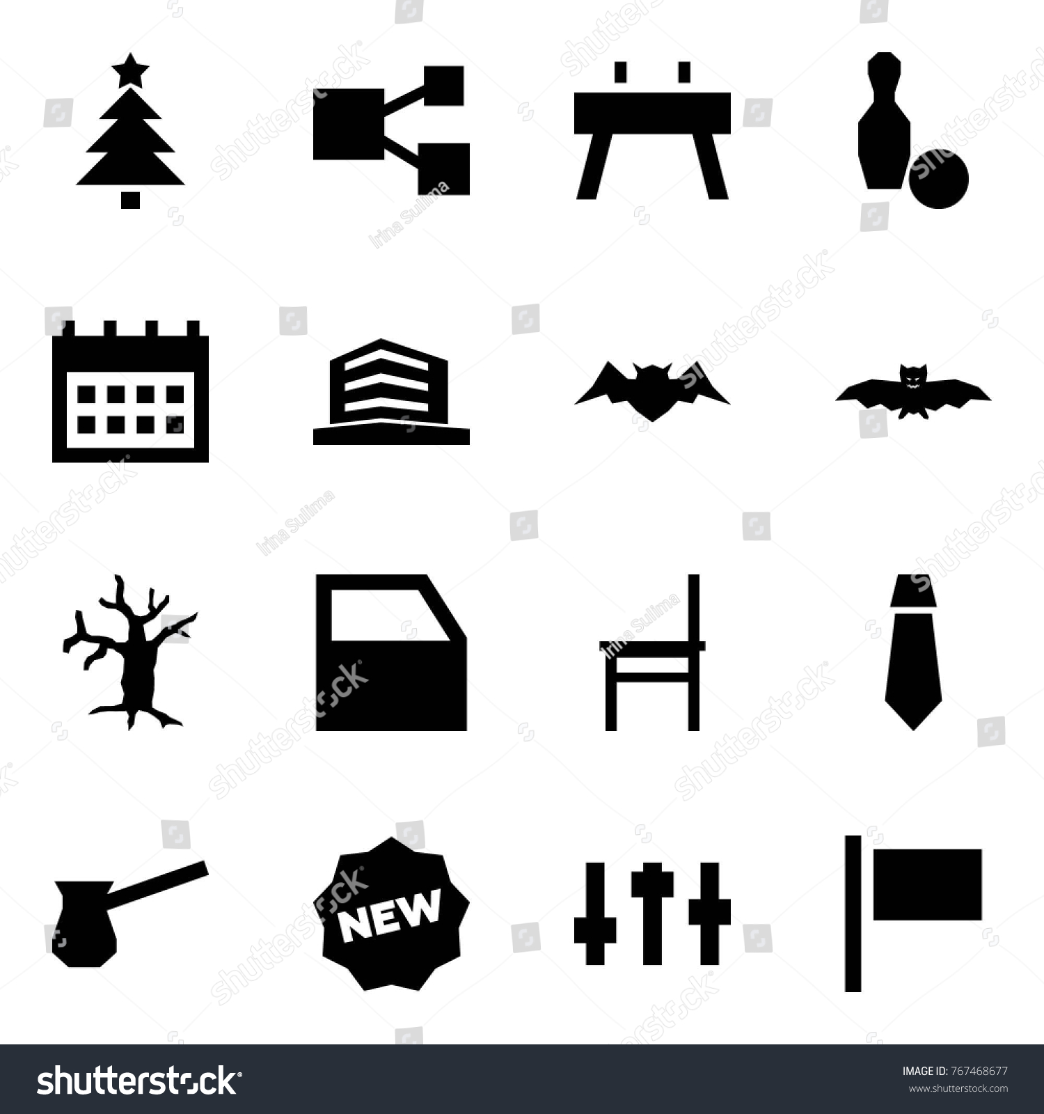 Origami Style Icon Set Christmas Tree Stock Vector Royalty Free