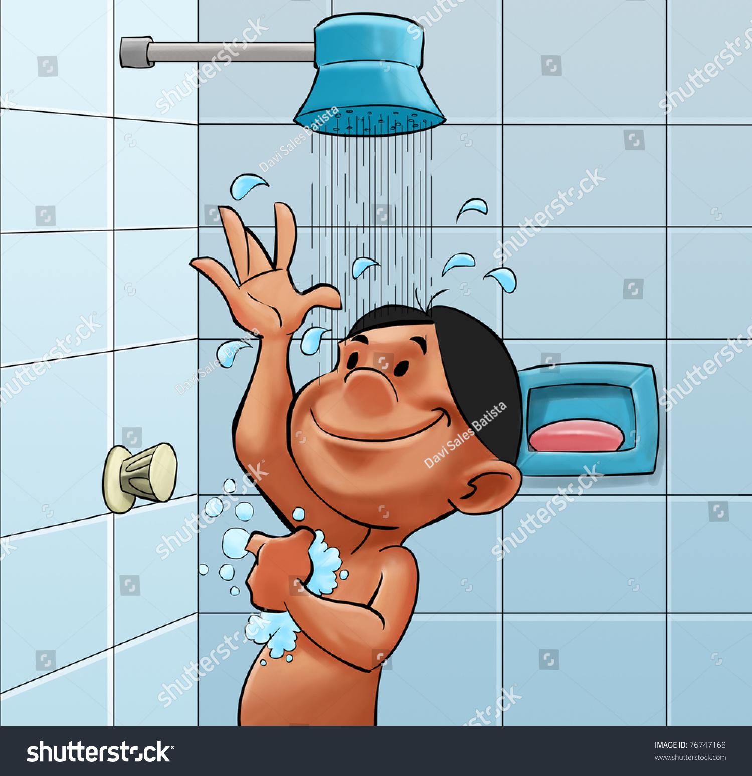 Boy Bath Room Taking Good Shower Stock Illustration 76747168 ...