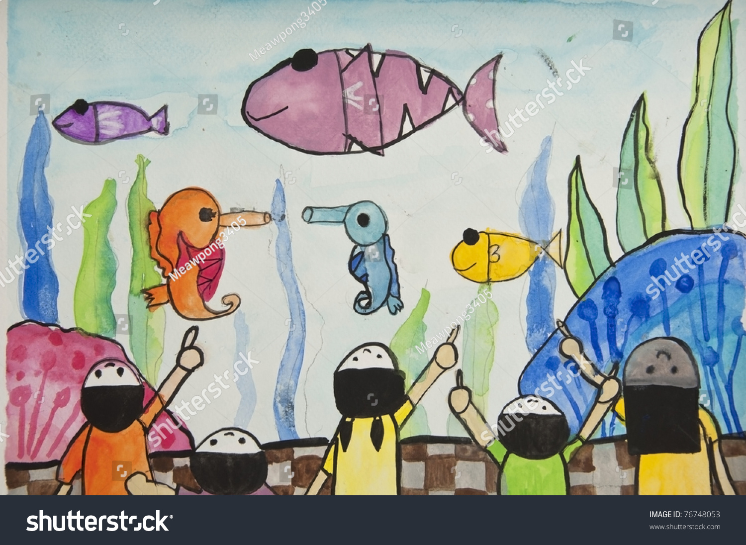 Fish tank drawing pictures - Fish In Aquarium As Free Hand Drawing By Crayon Color Techniques From 5 Years Old Thai