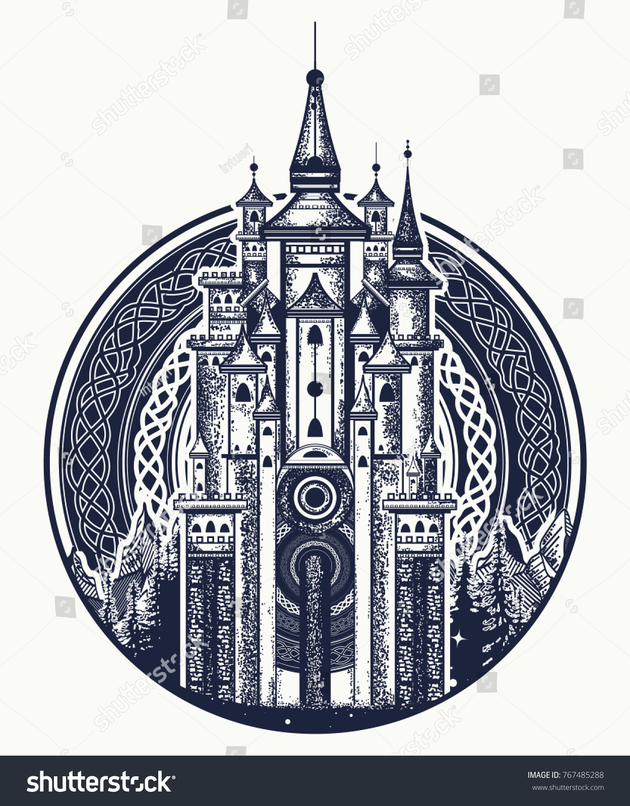 Medieval Castle Tshirt Design Symbol Fairy Stock Vector Royalty