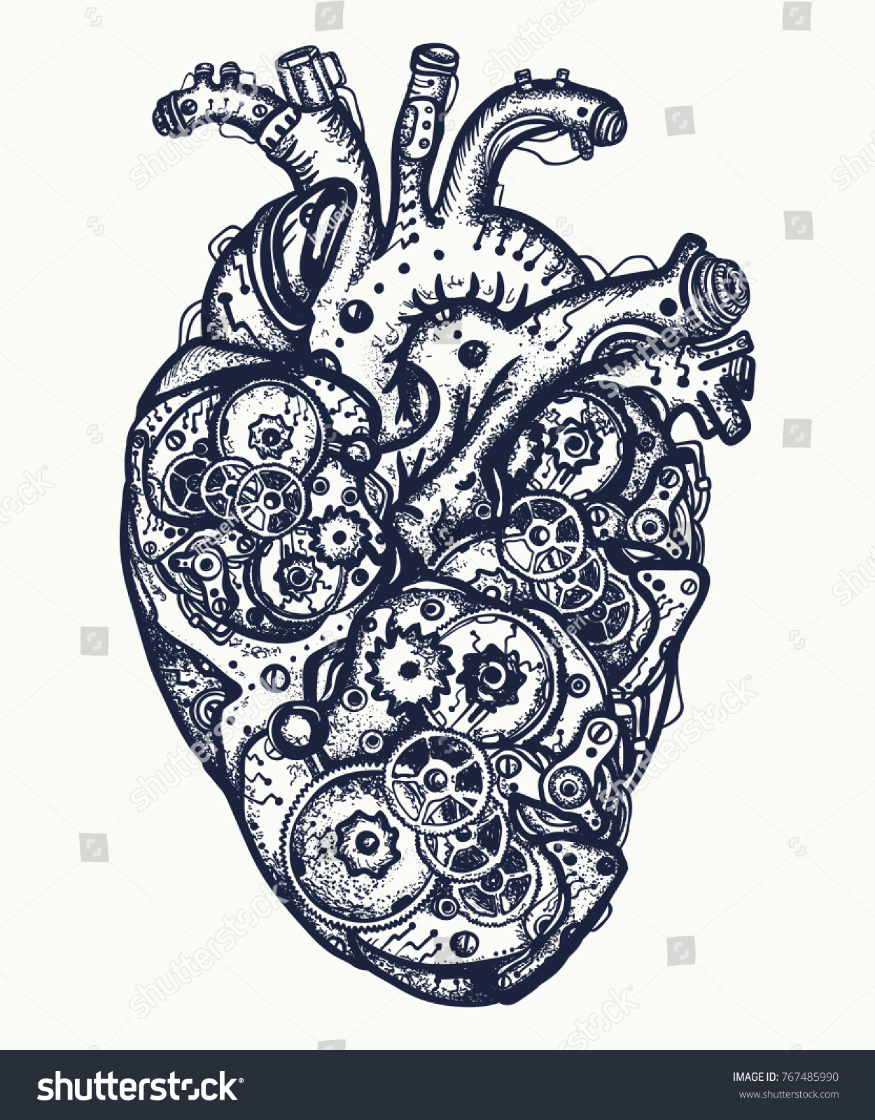 Mechanical heart tattoo symbol emotions love stock vector mechanical heart tattoo symbol of emotions love feeling anatomic mechanic heart steampunk biocorpaavc Image collections