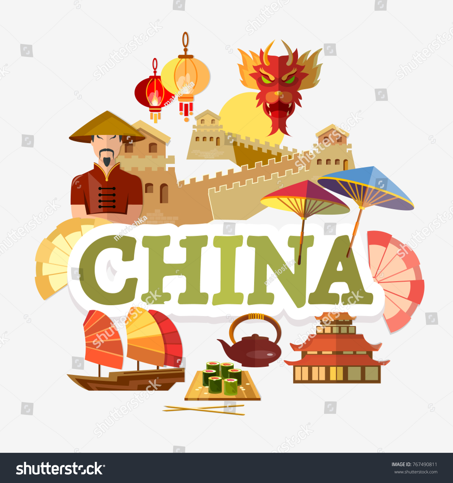 Travel China Traditions Culture Collection Traditions Stock Vector ...