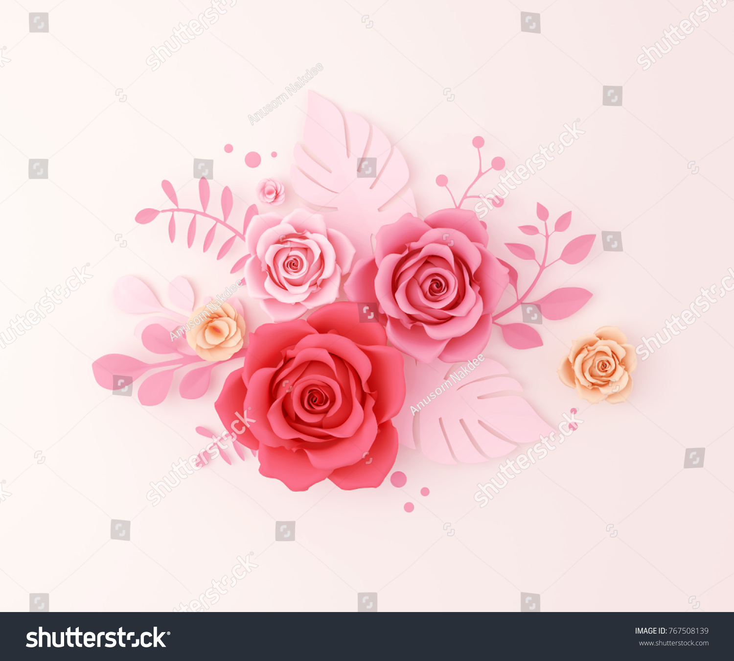 Paper Flower Craft Abstract Background 3 D Stock Illustration
