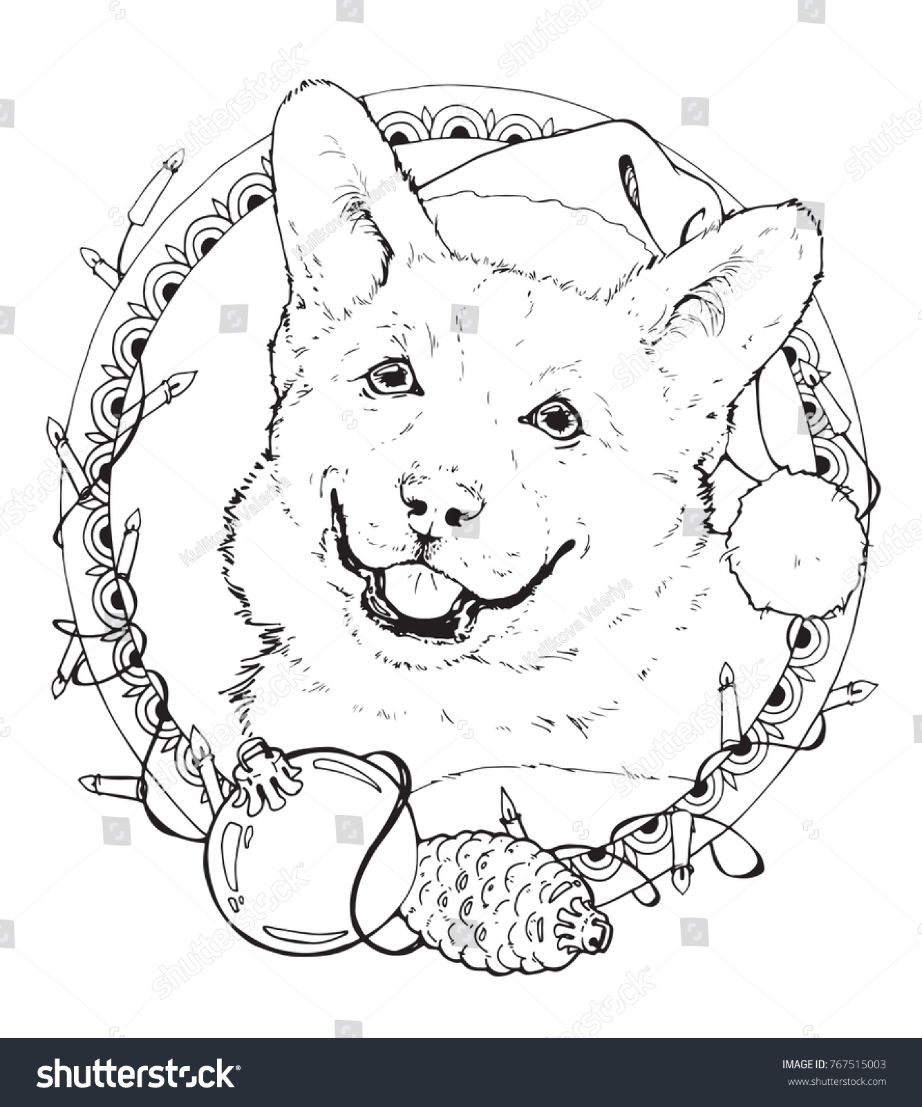 corgi coloring pages Coloring Page Christmas Corgi Decorative Frame Stock Vector  corgi coloring pages