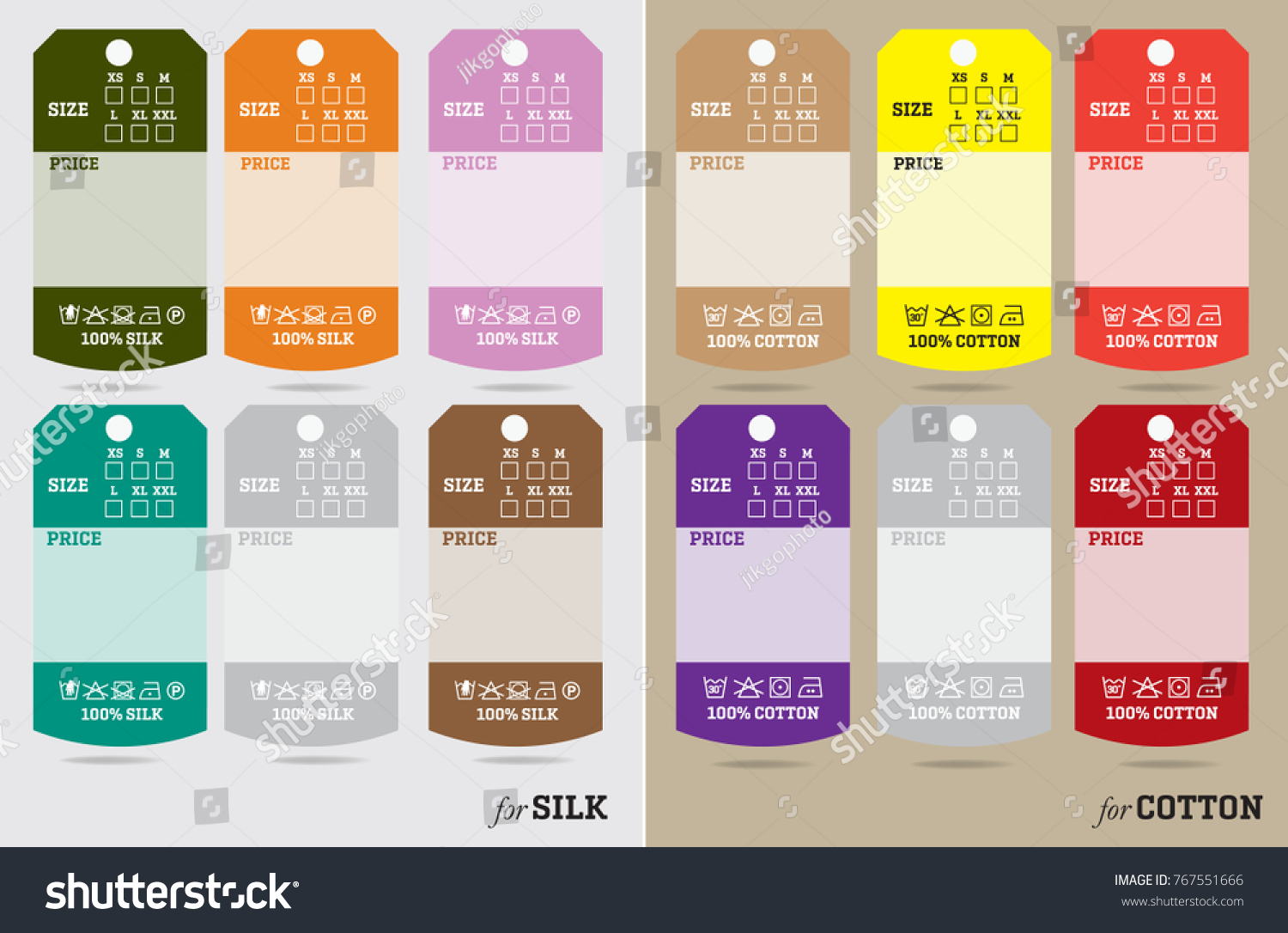 Clothing Tag Labels Sizing Universal Textile Stock Vector 767551666