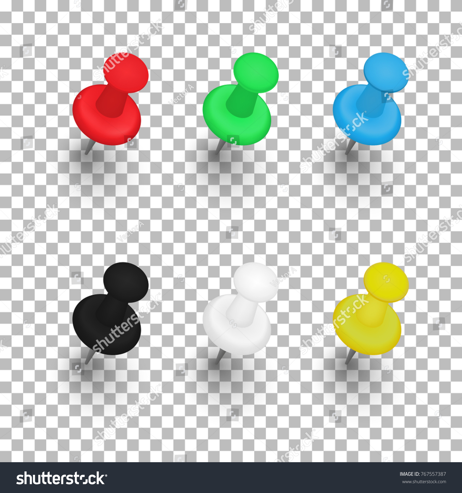 Set Push Pins Shadows On Transparent Stock Vector 767557387 ...