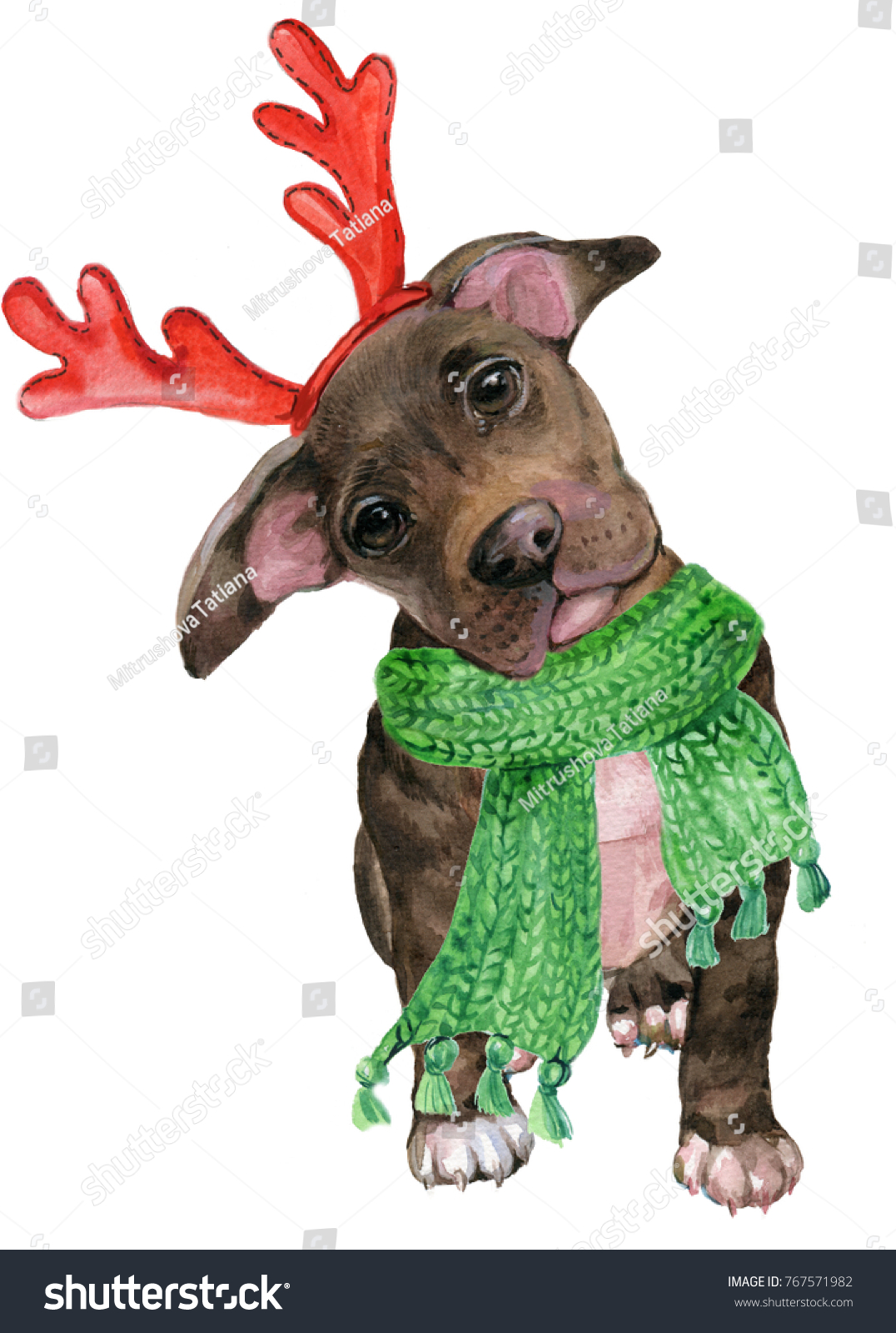 Puppy Pitbull Christmas Costumereindeer Antlers Scarf Stock ...