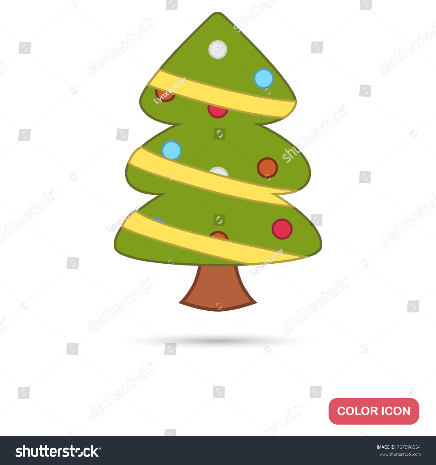 Christmas Tree Color Flat Icon Web Stock Vector 767596564 - Shutterstock