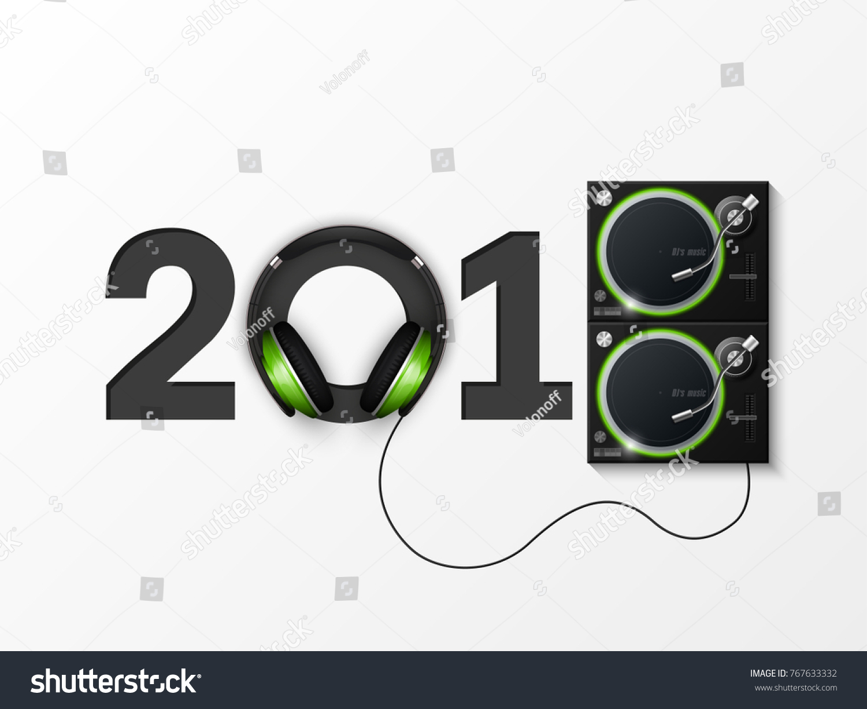 Happy New Year 2018 Party Headphones Stock Vector (Royalty Free ...