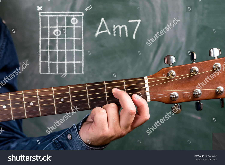 Man Blue Denim Shirt Playing Guitar Stock Photo Edit Now 767635654