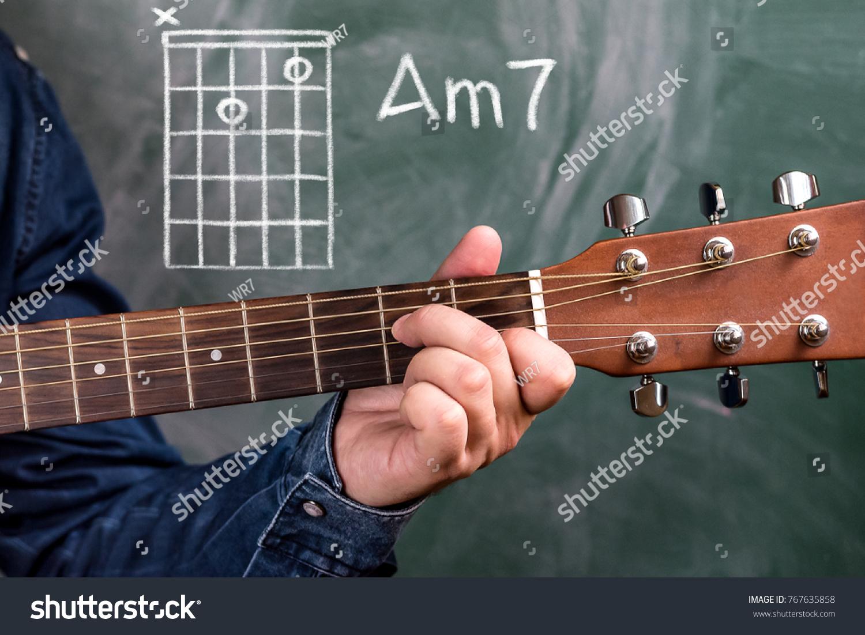 Man Blue Denim Shirt Playing Guitar Stock Photo Edit Now 767635858