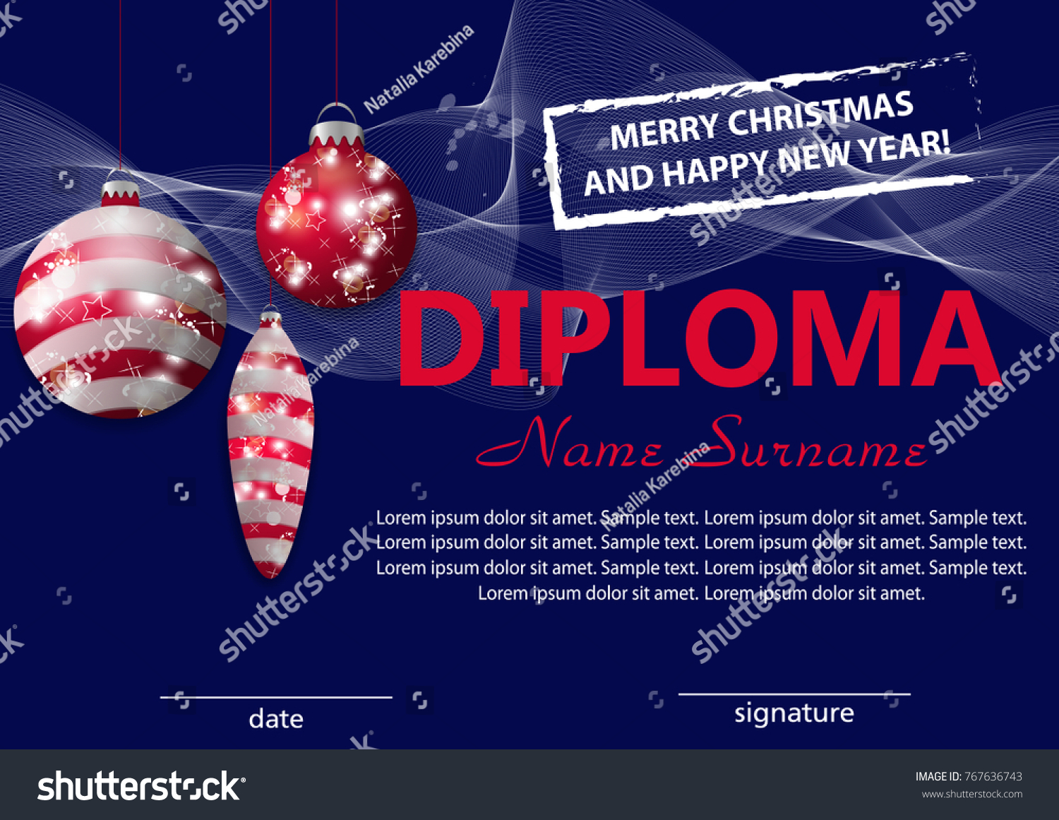 christmas template diploma certificate new year stock vector  christmas template diploma or certificate new year reward decorative red baubles vector illustration