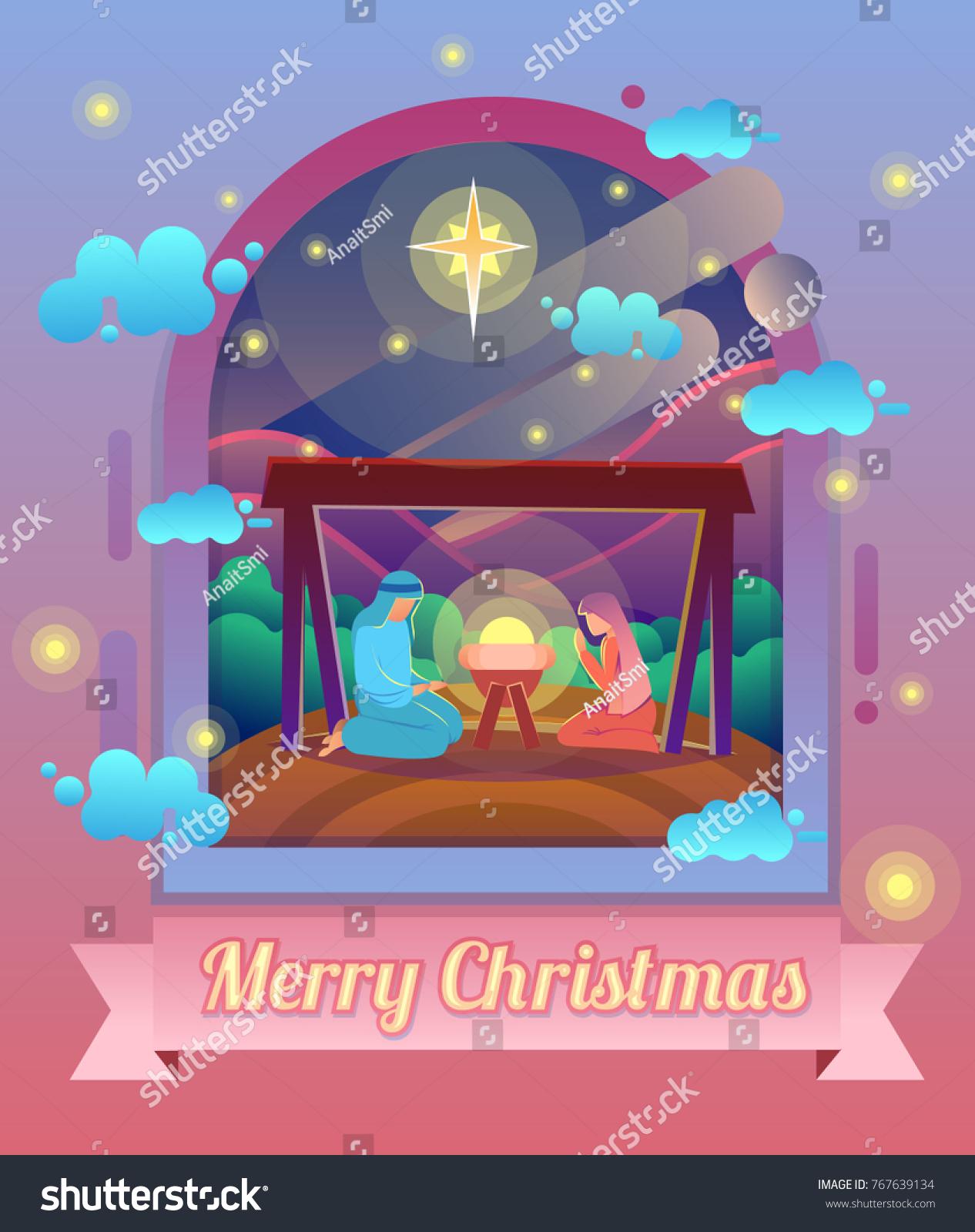 Mary Joseph Baby Jesus Christmas Nativity Stock Vector 767639134 ...
