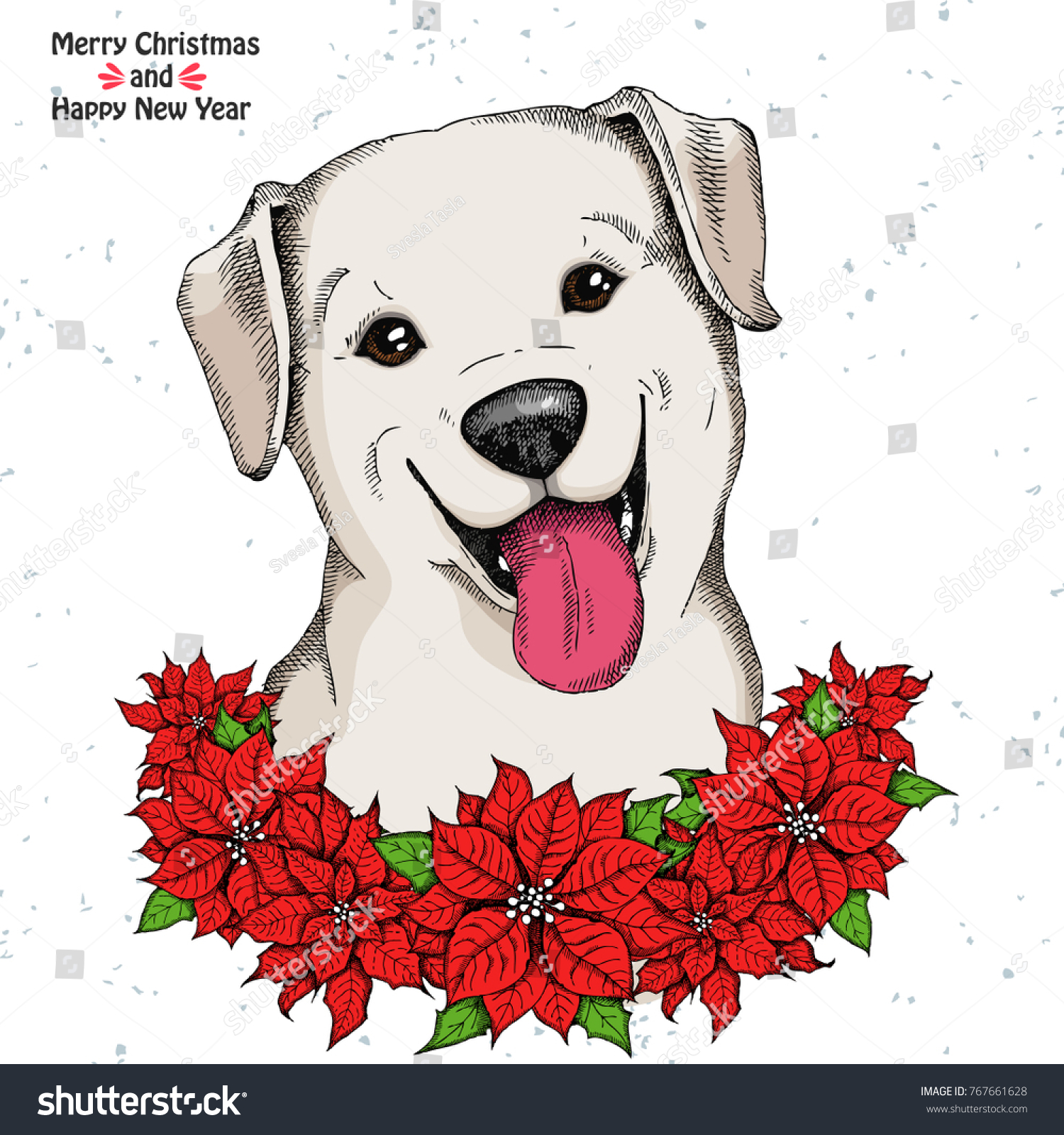 Christmas Card Cute Labrador Retriever Christmas Stock Vector ...