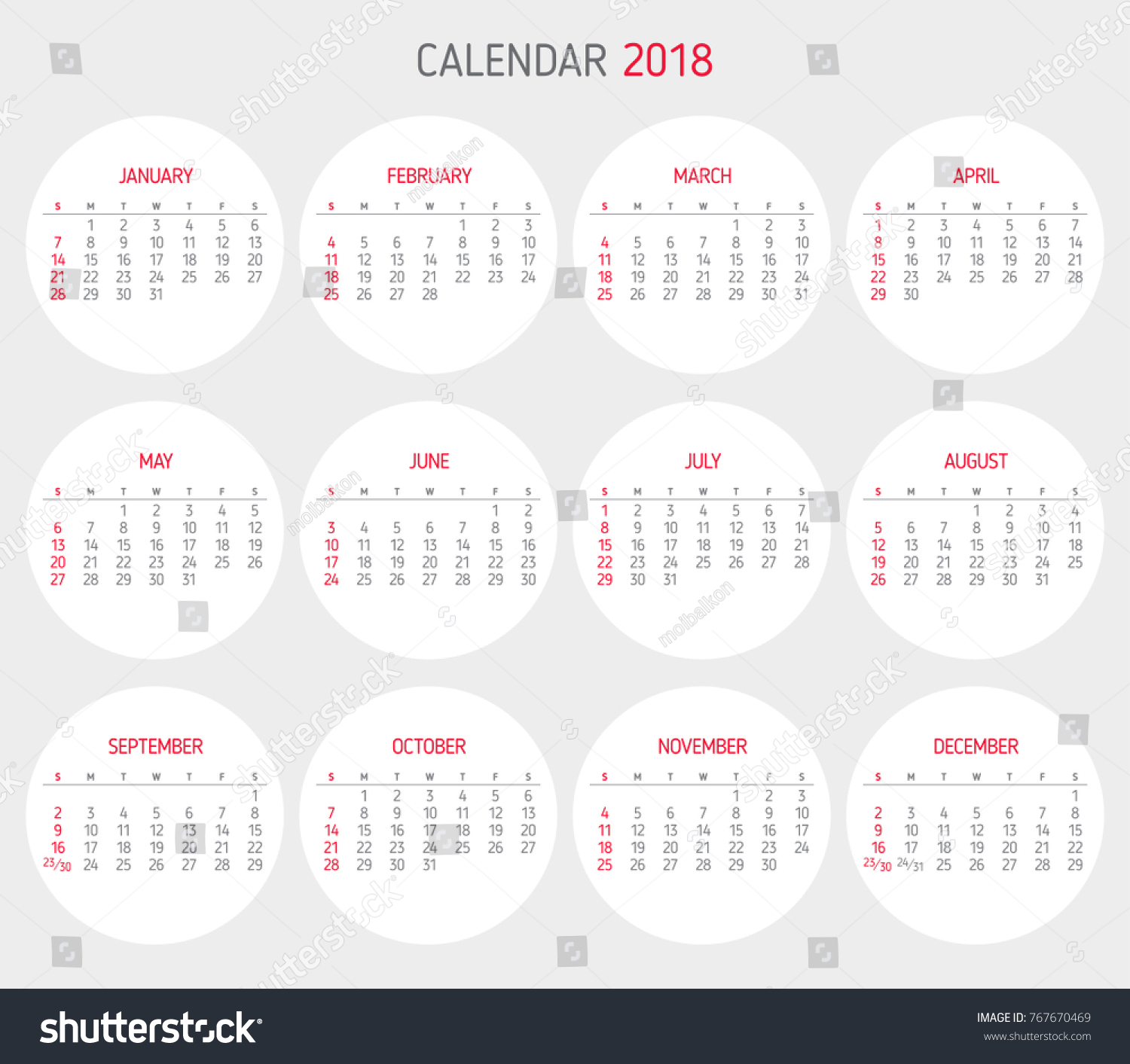 Calendar 2018 Year Template Starts On Stock Vector Royalty Free