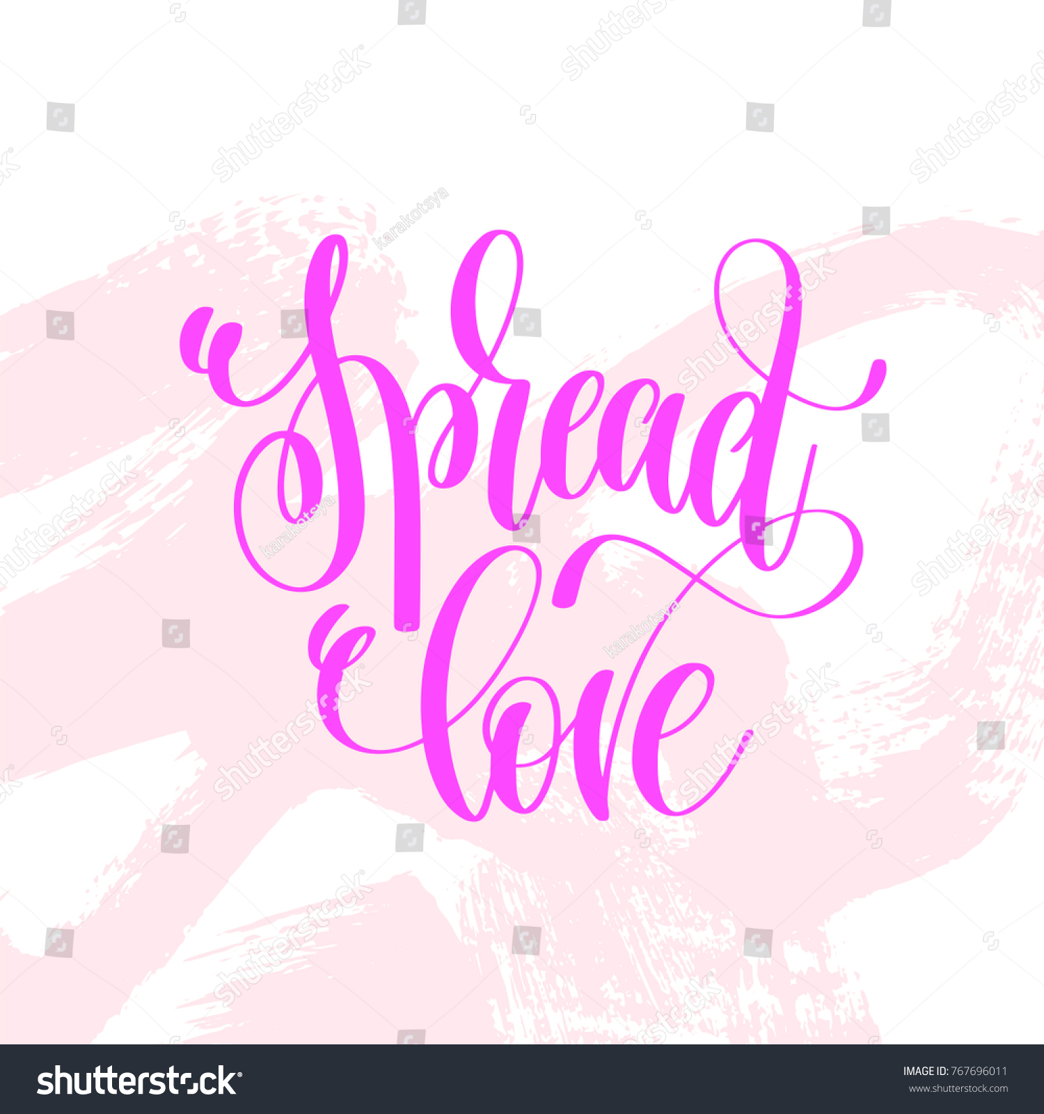 Spread Love Hand Lettering Poster On Pink Brush Stroke Pattern
