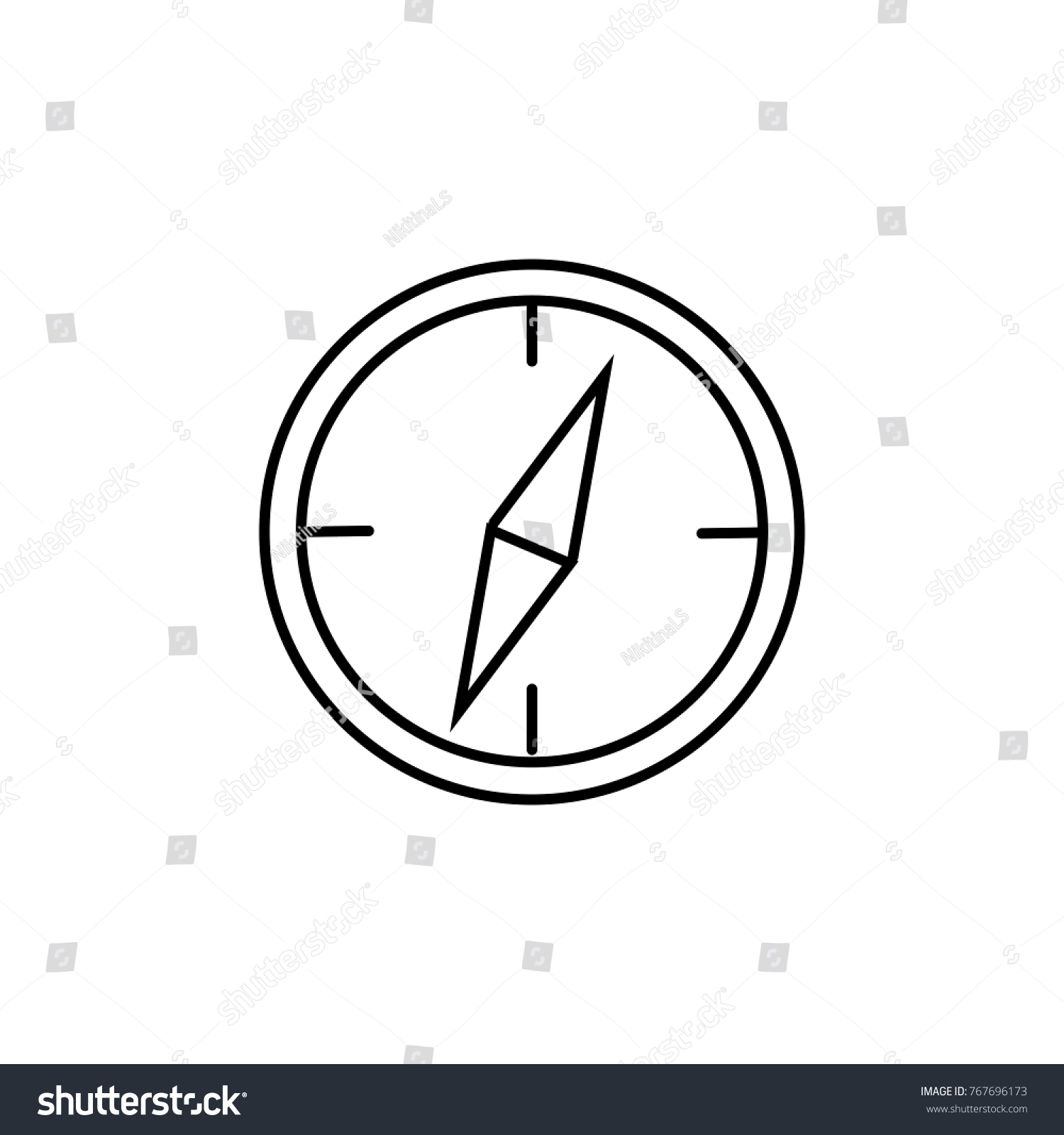 Linear Illustration Compass Icon Hand Light Stock Vector Royalty