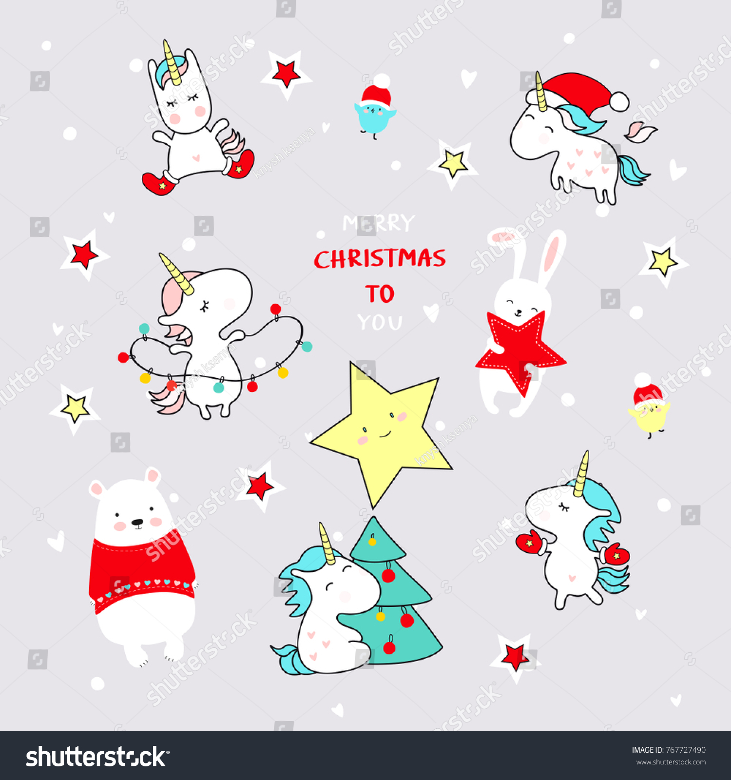 cute christmas comic unicorns and friends new year background