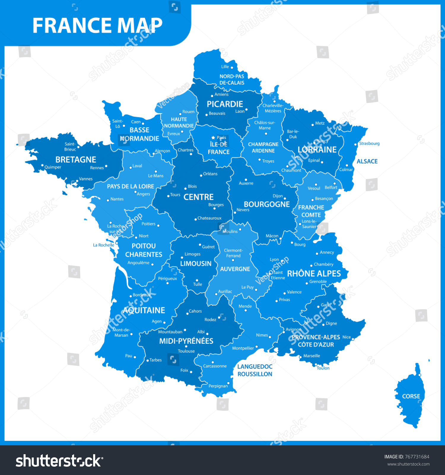Map Of France Regions And Cities.Detailed Map France Regions States Cities Stock Vector Royalty Free