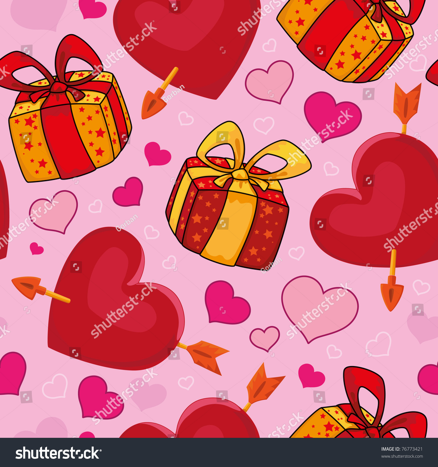 Raster Illustration Of A Seamless Gifts And Hearts