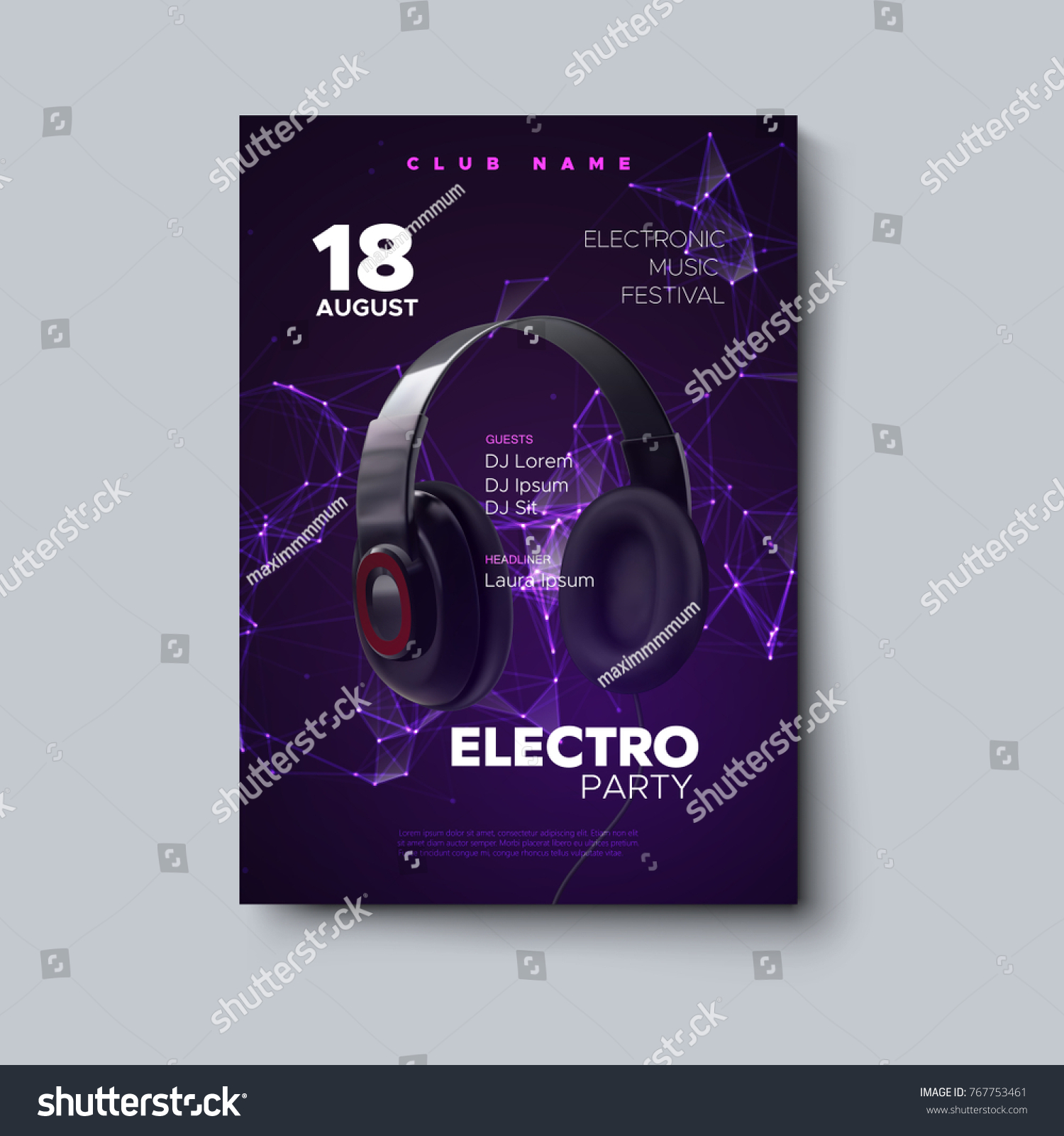 Electro Party Invitation Poster Electronic Music Stock Vector