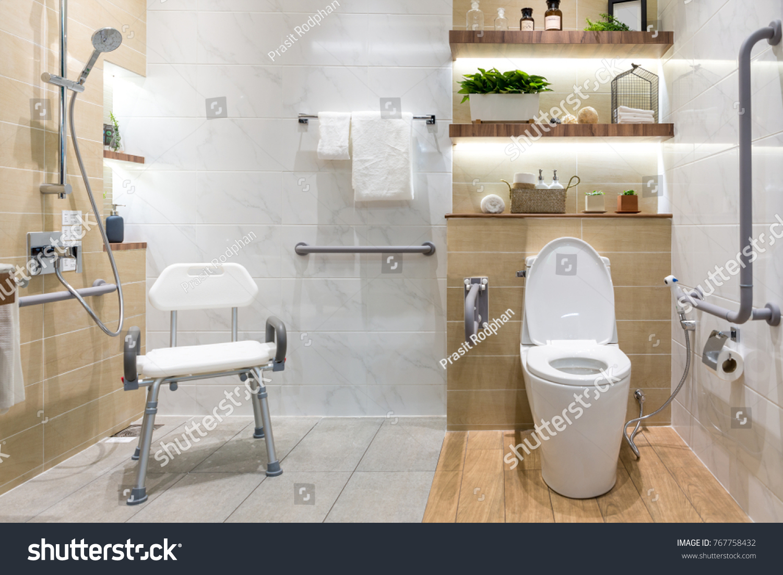 Interior Bathroom Disabled Elderly People Handrail Stock Photo ...