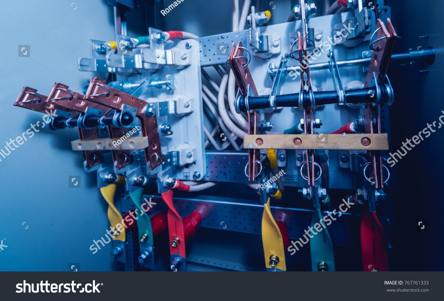 Wires Switches Electric Box Electrical Panel Stock Photo Edit Now Fuse Boxes And In With Fuses Contactors Background