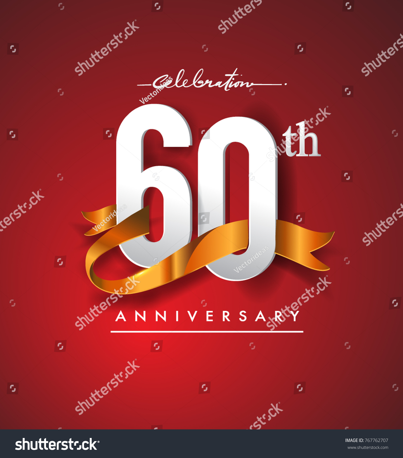 60th Anniversary Logotype Golden Ribbon Isolated Stock Vector ...