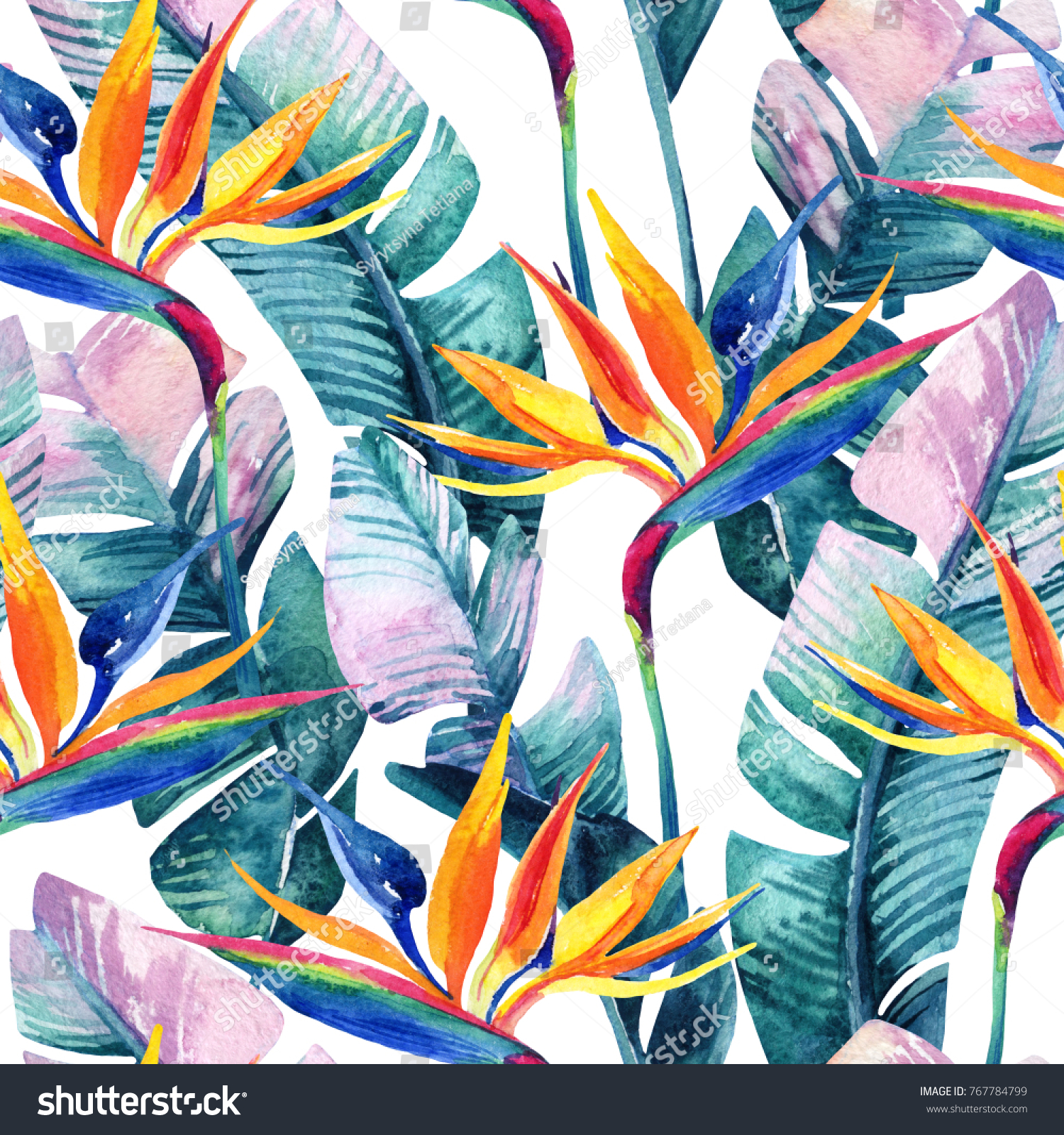 Watercolor tropical seamless pattern birdofparadise flower stock watercolor tropical seamless pattern with bird of paradise flower exotic flowers leaves buycottarizona