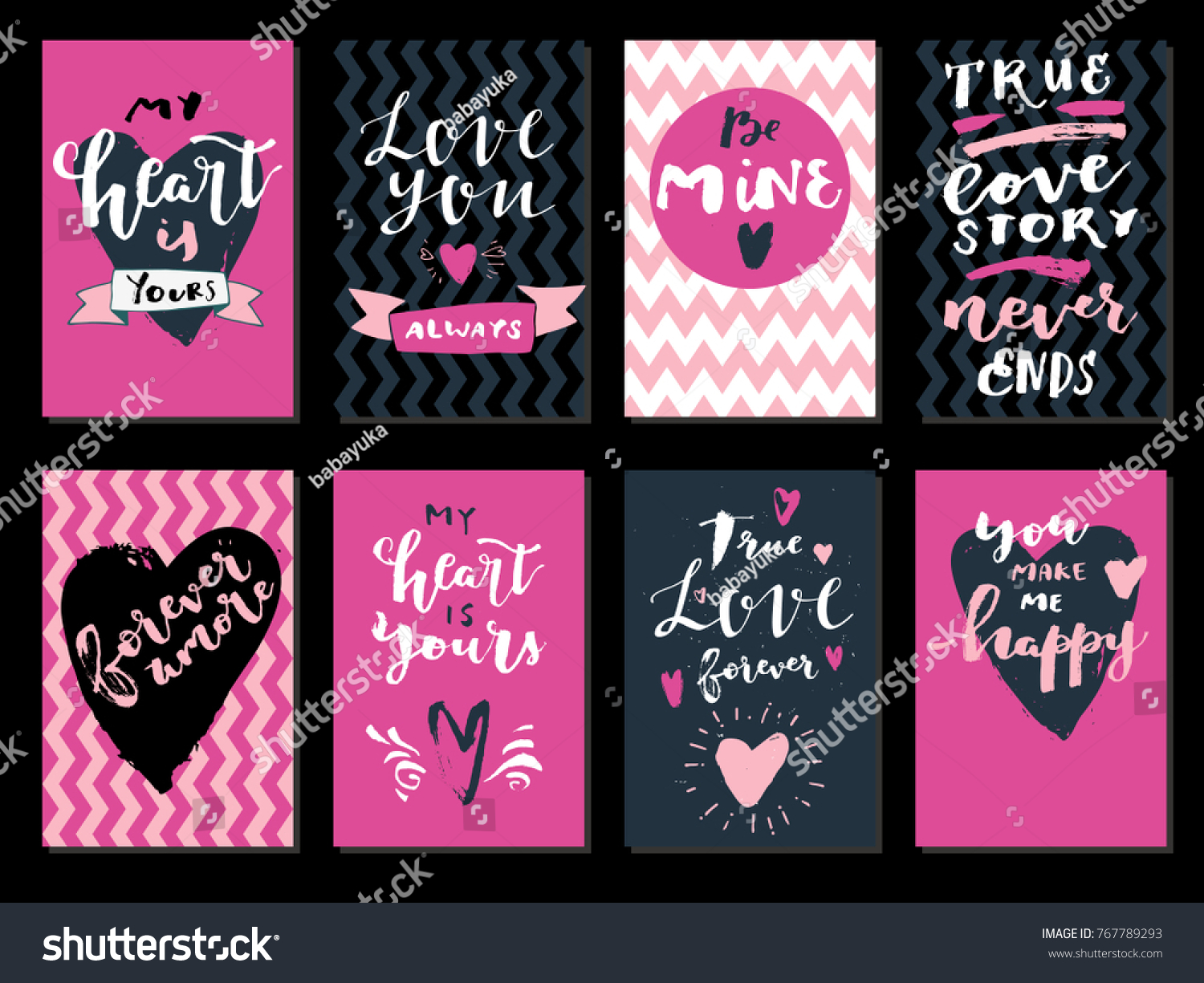 Love Quotes For Valentines Day Cards Set Love Quotes Saint Valentines Day Stock Vector 767789293