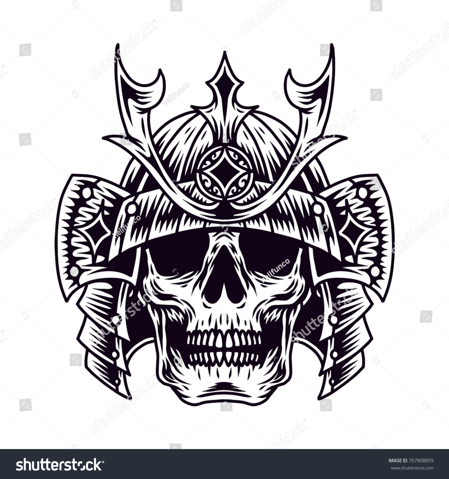 Samurai skull vector hand drawn