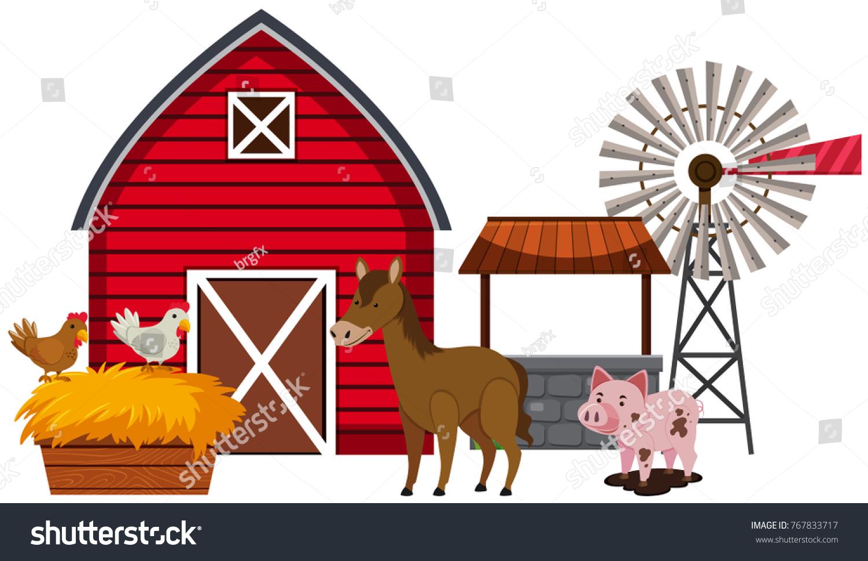 Farm Animals And Red Barn Illustration