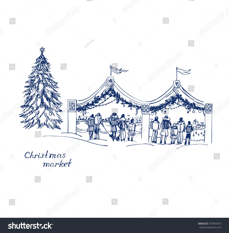 Blue Vector Sketch Christmas Market On Stock Vector (Royalty Free ...