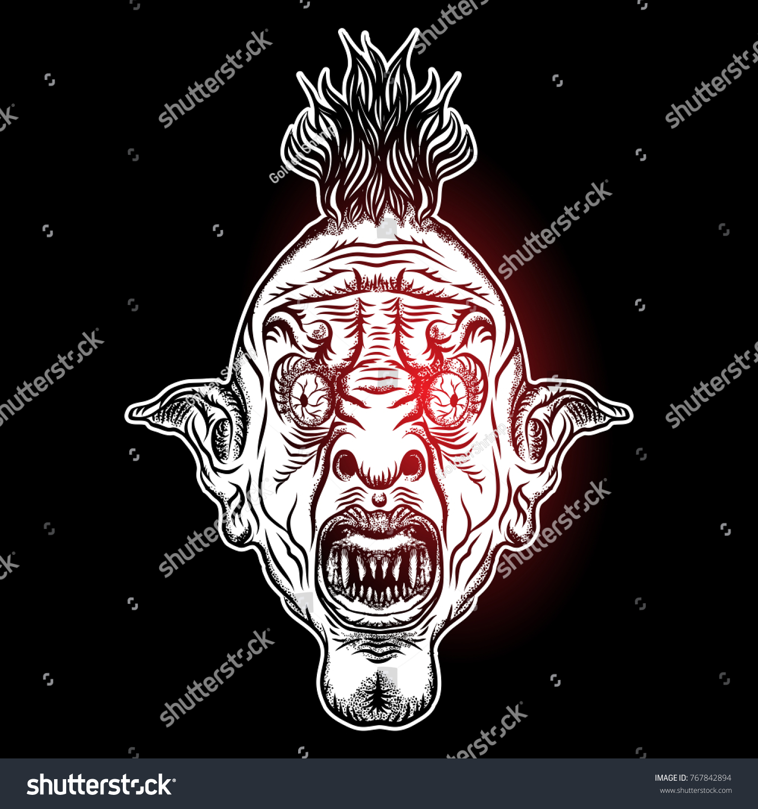 Devil head illustration nightmare inspired satanic stock nightmare inspired satanic influence punk face with mohawk dark twist face buycottarizona Image collections