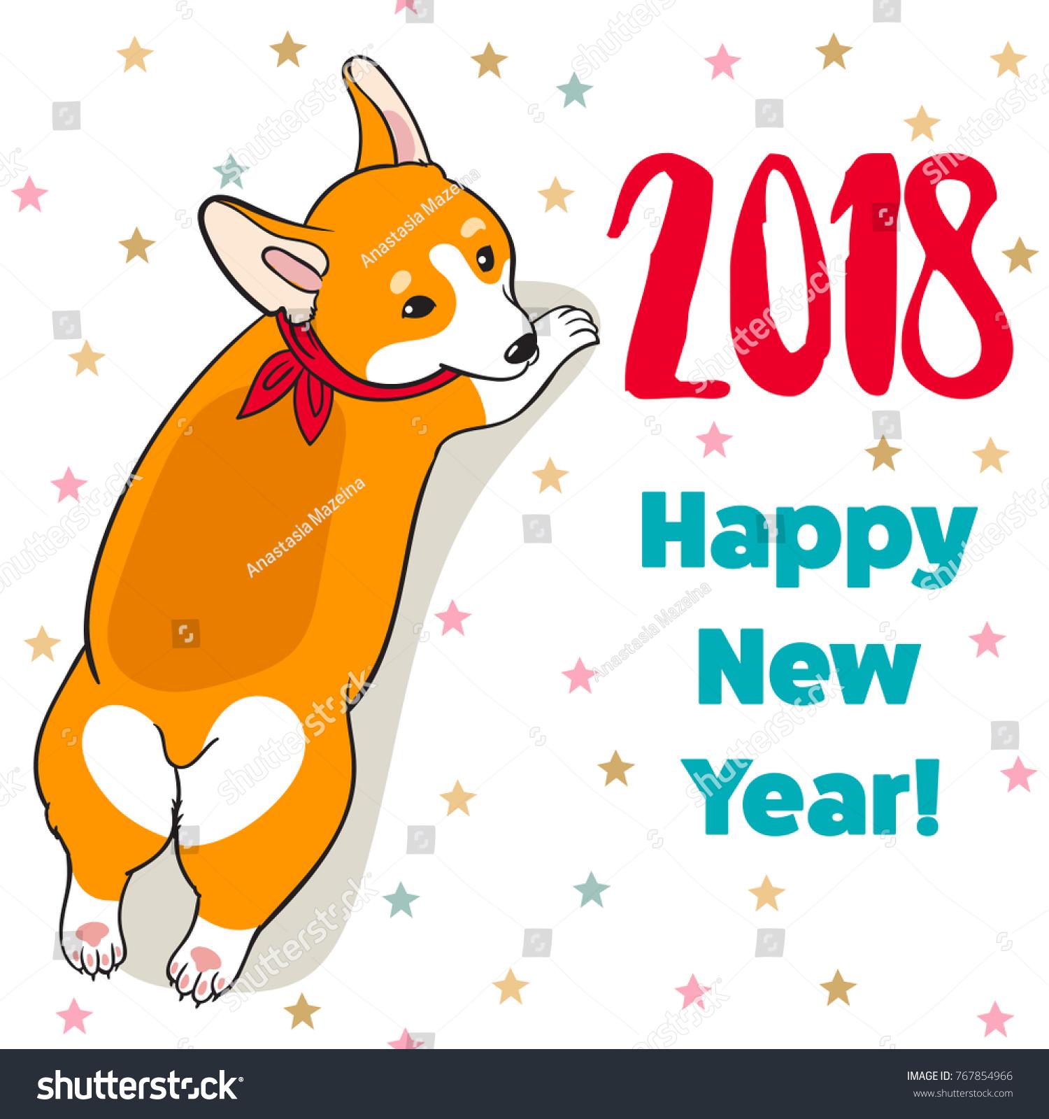 Christmas New Year Greeting Card Cartoon Stock Vector (Royalty Free ...
