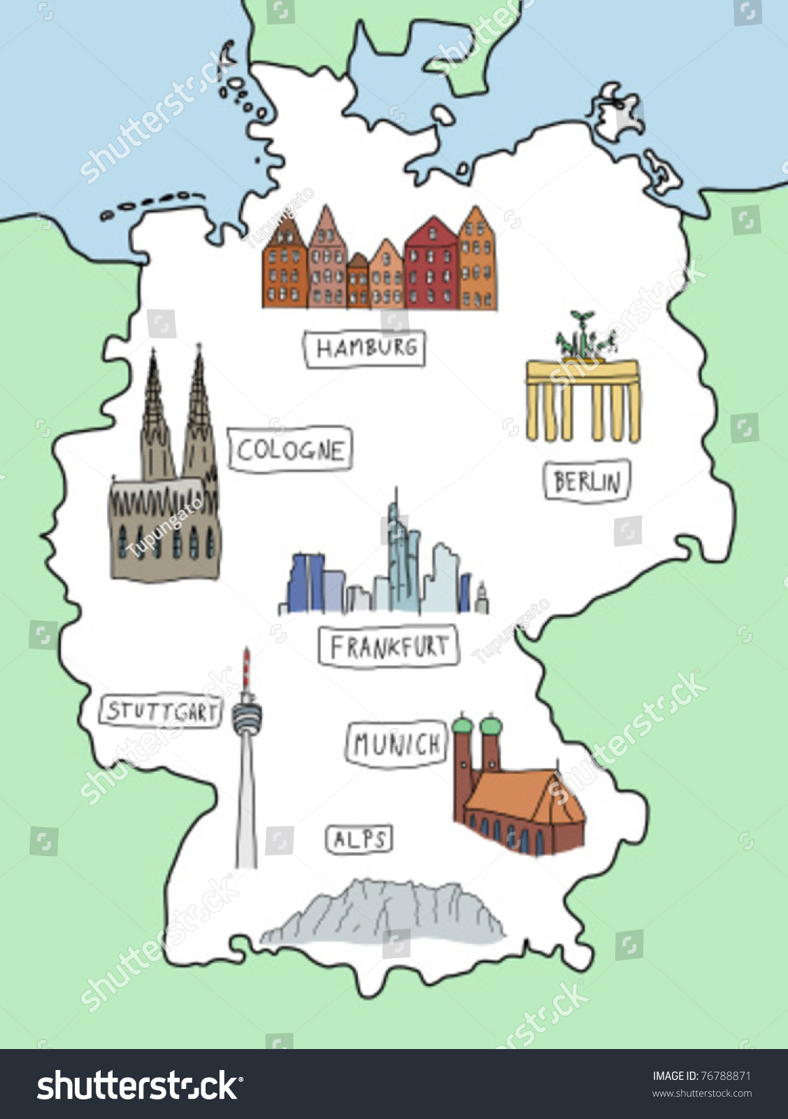 Germany Doodle Map Famous Places Berlin Stock Vector - Germany map berlin