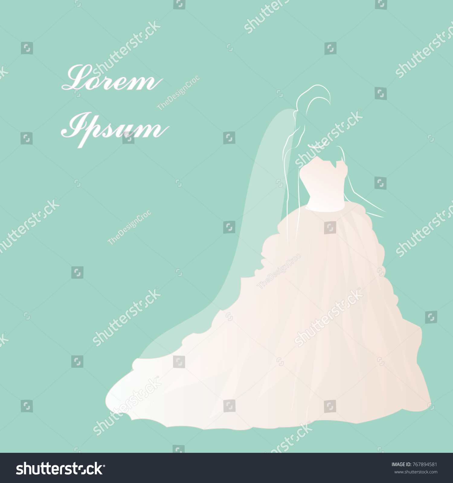 Bride Wedding Dress Veil Pearls Vector Stock Vector 767894581 ...