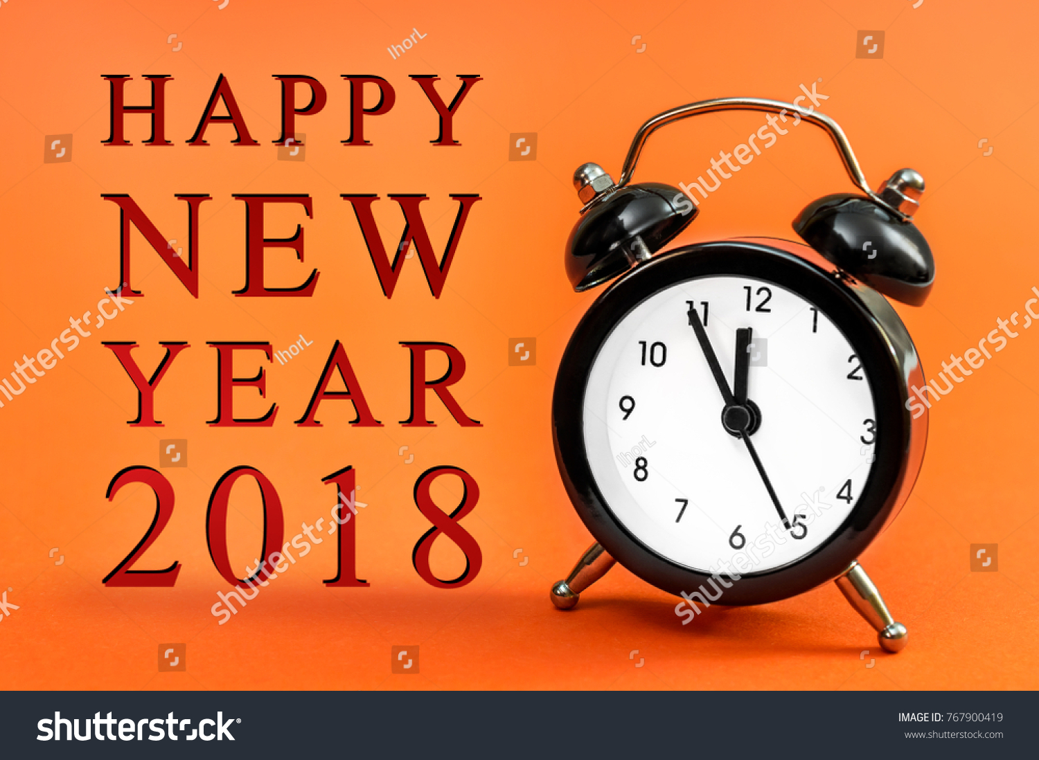 Greeting happy new year 2018 clock stock photo 767900419 greeting of happy new year 2018 with clock on bright orange background new year concept kristyandbryce Image collections
