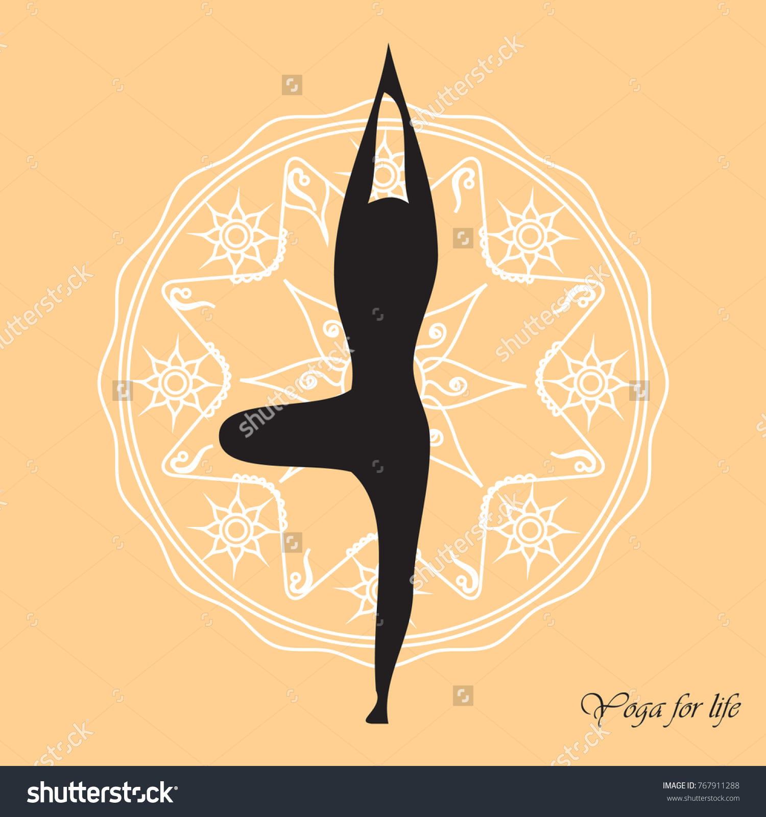 Yoga Pose And Mandala Design On Peach Colored Background Poster Print Banner