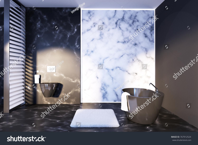 White Black Marble Bathroom Interior Black Stock Illustration ...