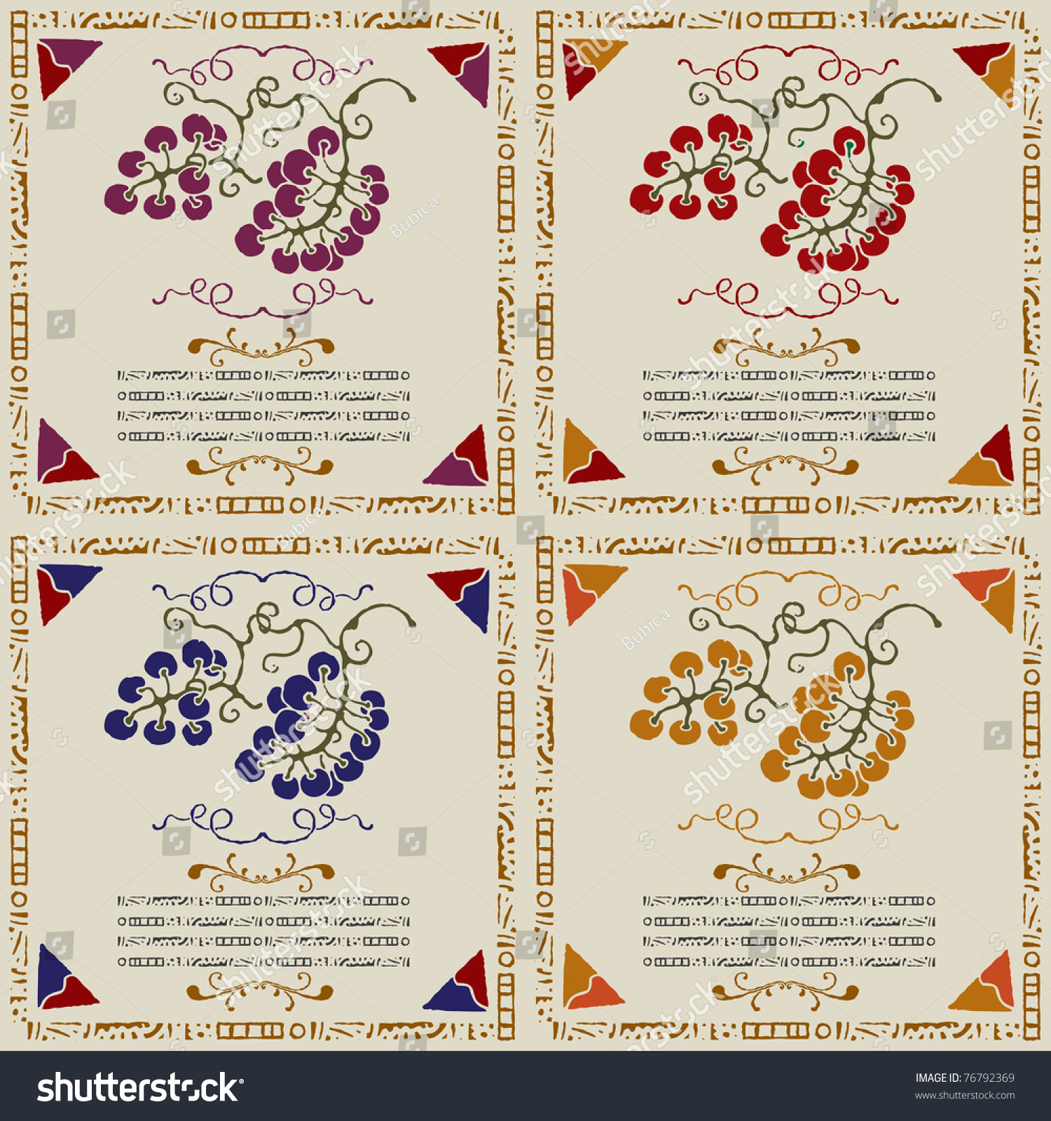 Wine Grape Labels By Sort Woodcut Stock Vector