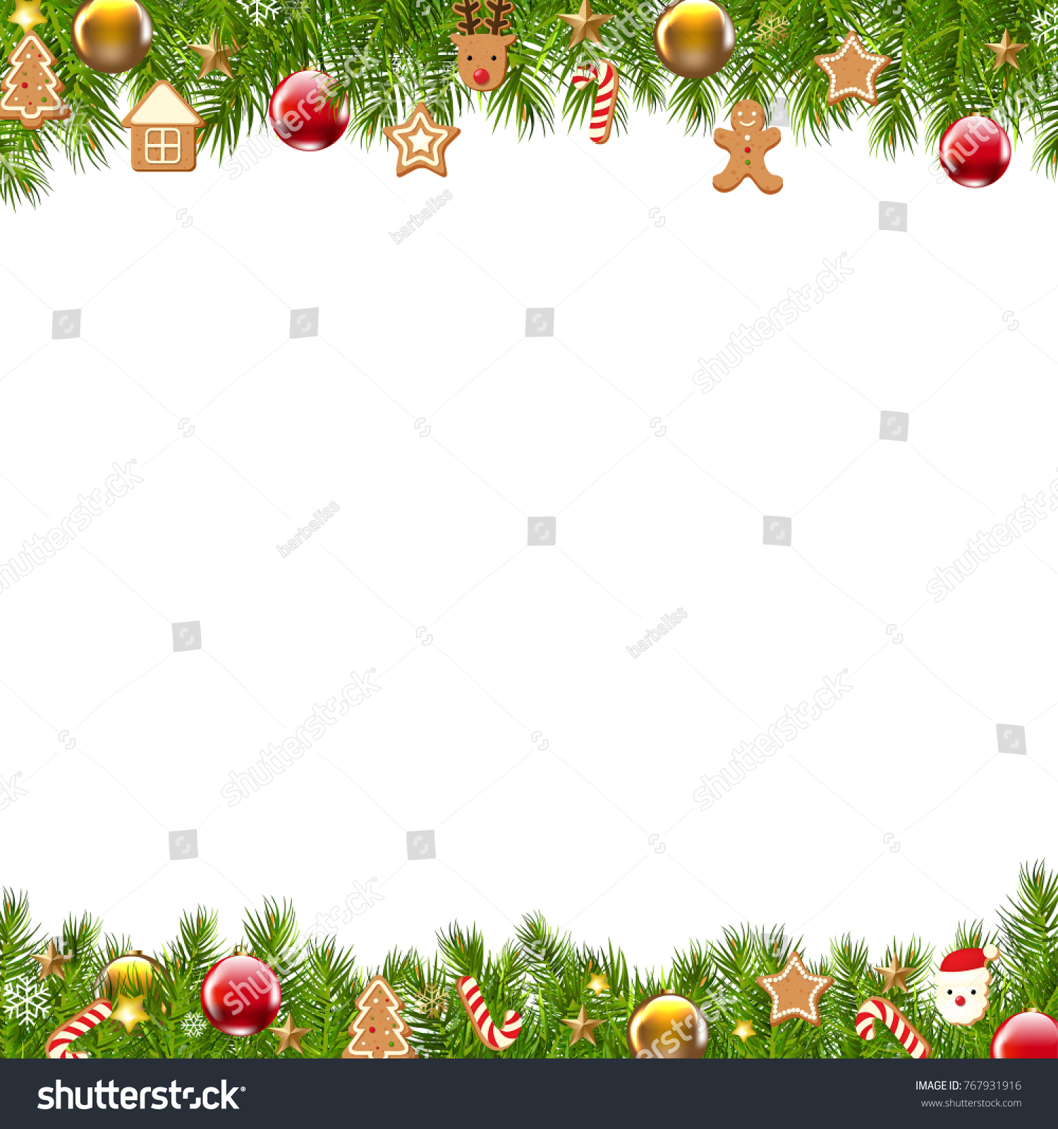 Christmas Border Fir Tree With Gradient Mesh, Vector Illustration #767931916