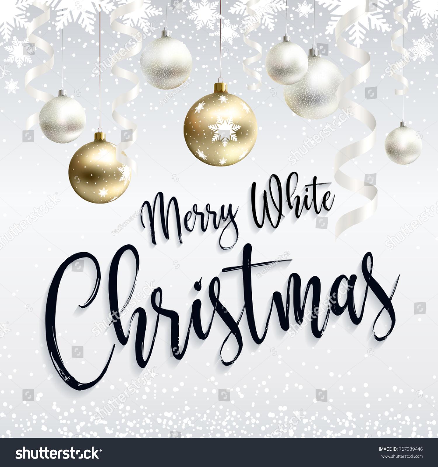 Festive Postcard Merry White Christmas Greetings Stock Vector ...